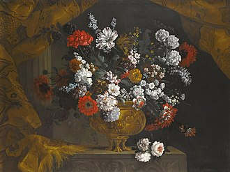 Pieter Casteels III - Still life of flowers in a gilt urn on a stone ledge