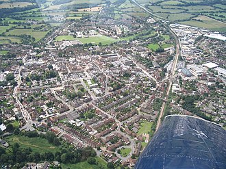 Petersfield - Aerial view from NE with railway (r) and College St (l)