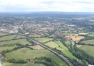 Petersfield - Aerial view from SW with the A3 in the foreground