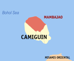 Map of Camiguin with Mambajao highlighted