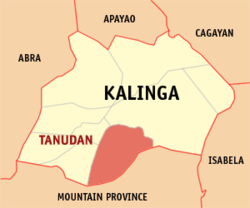 Map of Kalinga showing the location of Tanudan