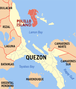 Polillo Island - Location within Quezon province