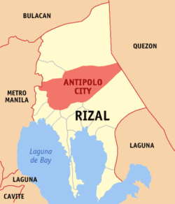 Map of Rizal Province showing vị trí của Antipolo City.