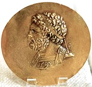 Philip II of Macedon: victory medal (niketerion) struck in Tarsus, 2nd c. BC (Cabinet des Médailles, Paris). Demosthenes saw the King of Macedon as a menace to the autonomy of all Greek cities.