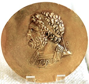 History of Macedonia (ancient kingdom) - Niketerion (victory medallion) bearing the effigy of king Philip II of Macedon, 3rd century AD, probably minted during the reign of Roman Emperor Alexander Severus.