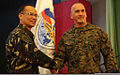Philippine Army Maj. Gen. Virgilio O. Domingo, left, the director of Balikatan 2013, and U.S. Marine Corps Brig. Gen. Richard L. Simcock II, the deputy director of Balikatan 2013, shake hands during the opening 130405-M-HG547-156.jpg