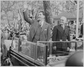 Photograph of Mexican President Miguel Aleman waving to the crowd during a welcoming ceremony at the District... - NARA - 199555.tif