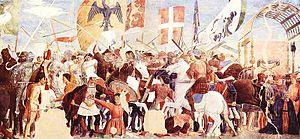 Maure - Image: Piero della Francesco, ciclo di affreschi della Vera Croce, battaglia di Eracleo e Cosroe, Arezzo