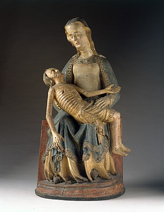 Pietà (Southern German, Cloisters) - Pietà, Height: 132.7 cm (52 in), German, Rhine Valley, Cologne (?), c. 1375–1400