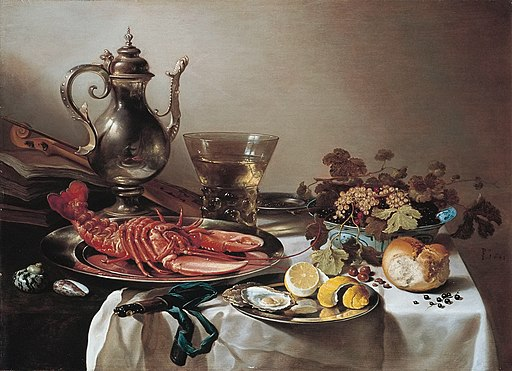 Pieter Claesz - Tafel mit Hummer, Silberkanne, großem Berkemeyer, Früchteschale, Violine und BüchernFXD