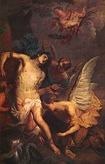 Saint Sebastian comforted by the angels after his martyr's death