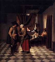 Soldier paying a landlady in an inn