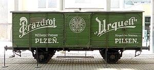 Pilsner Urquell Brewery - Pilsner Urquell historical cargo railroad car
