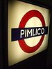English: Pimlico tube station backlit platform...