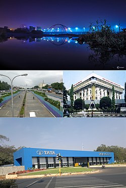Clockwise from the top: Ravet Bridge; PCMC building; Tata Motors plant, Bhosari; Old Mumbai–Pune Highway, Pimpri