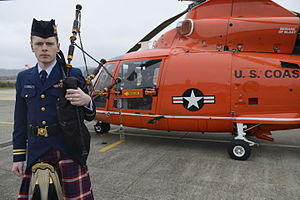 United States Coast Guard Pipe Band - A Coast Guard Pipe Band member pictured in 2015 at Air Station North Bend.