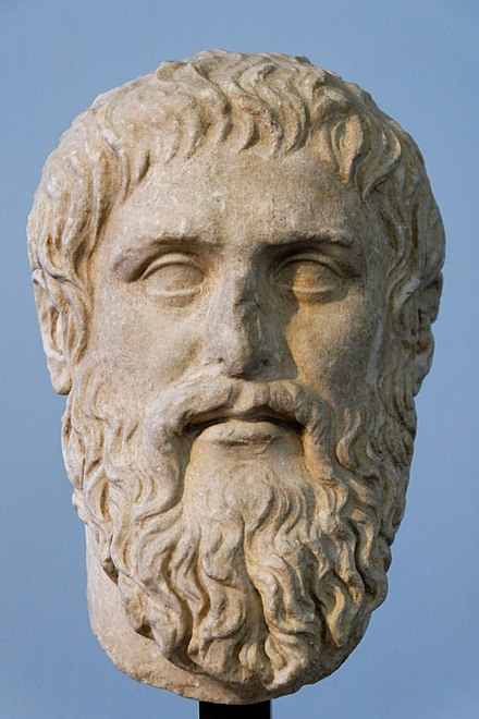 Plato. Luni marble, Roman copy of the portrait made by Silanion ca. 370 BC for the Academia in Athens Plato Silanion Musei Capitolini MC1377.jpg