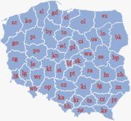 Poland administrative division 1975 literki