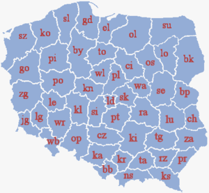 Voivodeships of Poland - Map of Polish voivodeships (1975–1998).