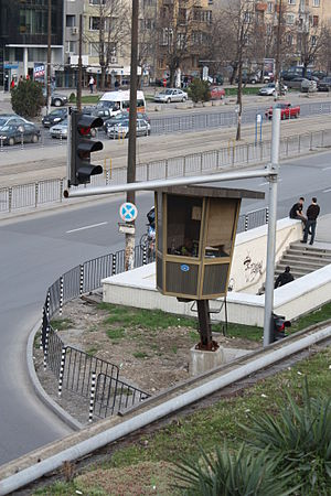 Police box in Sofia at a crossing 20090406 002