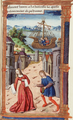 Pompey stops at the port of Mitylene to take his wife Cornelia and his son, the messenger who is sent to fetch her informs her of Pompey's misfortune by weeping instead of speaking, Cornelia swoons.png