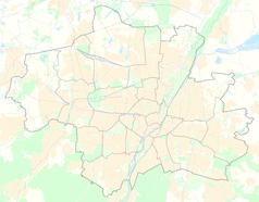 """Mapa konturowa Monachium, w centrum znajduje się punkt z opisem """"Olympiastadion München"""""""