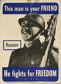 U.S. Government poster showing a friendly Russian soldier as portrayed by the Allies of World War II.