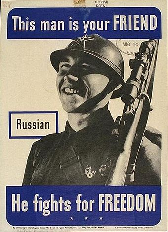 U.S. government poster showing a friendly Soviet soldier, 1942 Poster russian.jpg