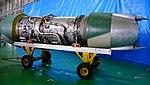 Pratt & Whitney JT8D-9 turbofan engine left rear view at JASDF Iruma Air Base November 3, 2014.jpg