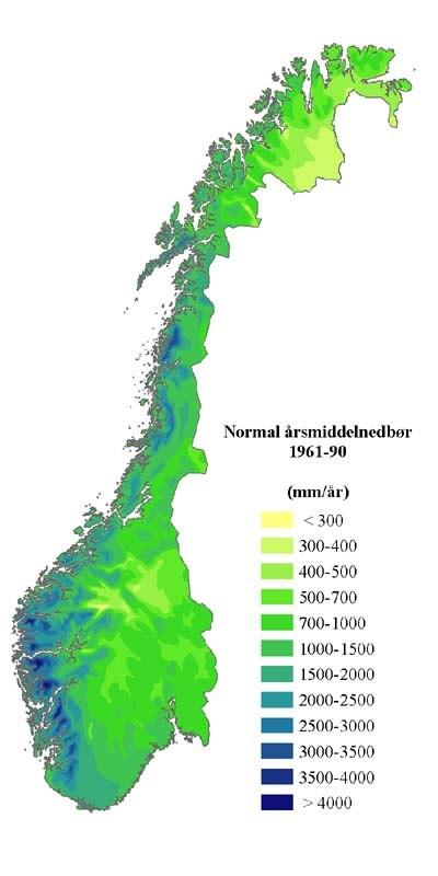 Precipitation normal Norway