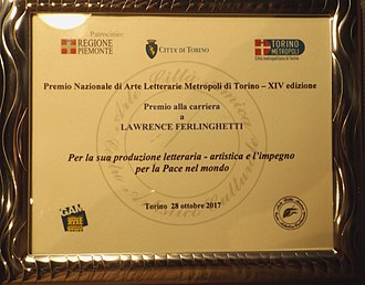 Lawrence Ferlinghetti - Career Award Plaque conferred on October 28, 2017 at the Premio di Arti Letterarie Metropoli di Torino, Italy