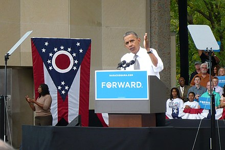Barack Obama at a campaign stop in Cincinnati in his 2012 campaign. President-obama cincinnati eden-park 09-17-2012.jpg
