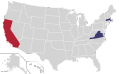 Presidential Candidate Home State Locator Map, 1960 (United States of America).png