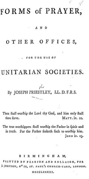 Joseph Johnson (publisher) - Forms of Prayer (1783) by Joseph Priestley, a Unitarian liturgy published by Joseph Johnson