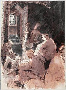 Prisoners-of-war in a Cellar, Tauberbischofsheim Art.IWMARTLD5070.jpg