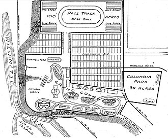 University Park, Portland, Oregon - A 1902 proposed site plan, on land that later became the University Park neighborhood, for the Lewis and Clark Centennial Exposition.  The exposition was instead held on an artificial island in Guild's Lake.
