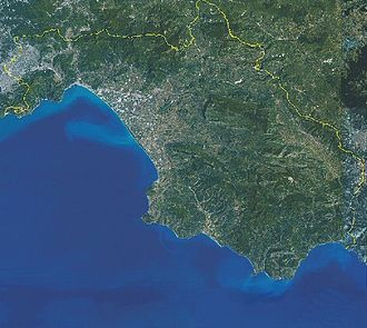 Provincia di Salerno vista dal satellite.