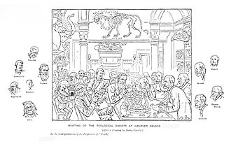 Henry Scherren - A cartoon of a meeting of the Zoological Society of London from Scherren's 1905 book; the zoologists seem quite as interesting as the animal specimens