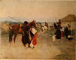 Cossack Hetmanate - To war!, by (Mykola Pymonenko, 1902)