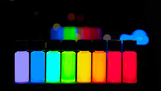 Quantum dot - Quantum Dots with gradually stepping emission from violet to deep red