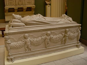 Ilaria del Carretto - Tomb and monument of Ilaria del Carretto by Jacopo della Quercia, ca. 1413 (plaster cast in Moscow)