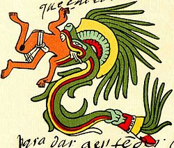 Quetzalcoatl depicted as a snake devouring a man, from the Codex Telleriano-Remensis.