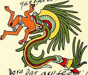 Quetzalcoatl - Quetzalcoatl in feathered serpent form as depicted in the Codex Telleriano-Remensis
