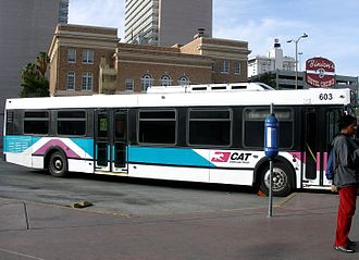 RTC Transit - A typical CAT bus with the original teal and magenta livery used from 1992 to 2001