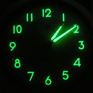 Luminous paint - A 1950s radium clock, exposed to ultraviolet light to increase luminescence