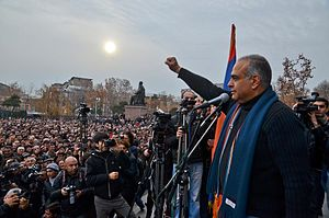 Raffi Hovannisian - Hovannisian addressing the crowd at Yerevan's Freedom Square on 22 February 2013