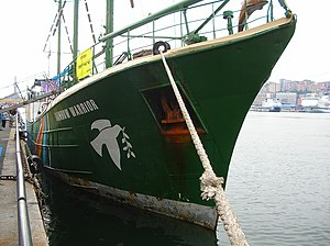 The Rainbow Warrior at the port of Genoa in Ju...