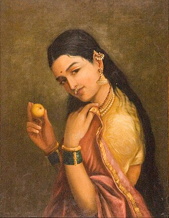 National Gallery of Modern Art - Image: Raja Ravi Varma Woman Holding a Fruit Google Art Project