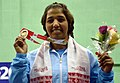 Rajani (India) winner of Gold Medal in 69kg Women's wrestling, during the presentation ceremony, at the 12th South Asian Games-2016, in Guwahati on February 08, 2016.jpg