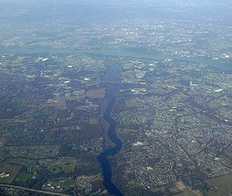 Rancocas Creek - The main stem of Rancocas Creek between Interstate 295 and the Delaware River viewed from the air in November 2011.